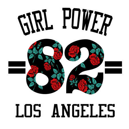 Girl Power 82 Slogan Fashion stripes, badges Exclusive girl Gang Rose with leaves Rock girl gangs, clothes for T-shirt with printed graphic design. Vector A set of stickers, embroidery, applique in the style of ancient breeds.