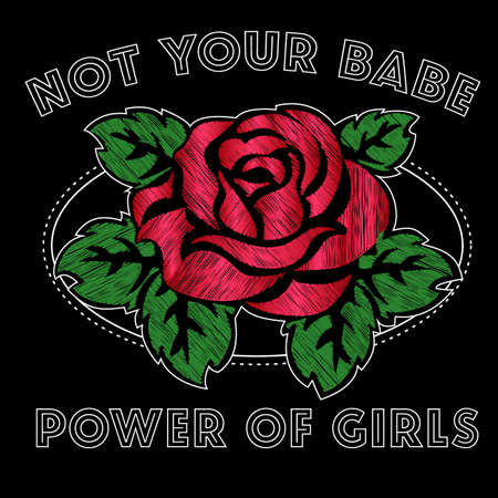 Girl Not Your Babe Slogan Fashion stripes, badges Exclusive girl Gang Rose with leaves Rock girl gangs, clothes for T-shirt with printed graphic design. Vector A set of stickers, embroidery, applique in the style of ancient breeds.