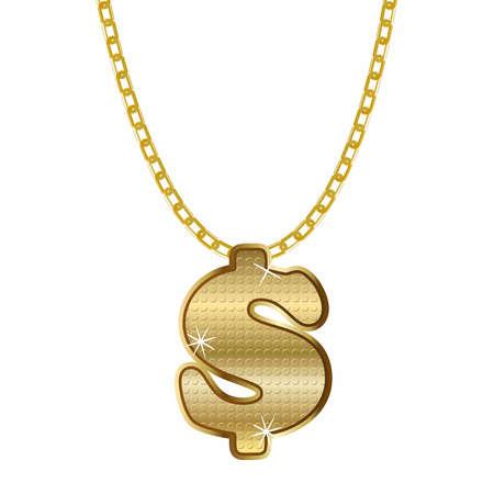 Gold dollar symbol necklace. Vector hip hop rap style.