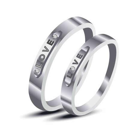 Wedding rings Love set of silver metal. 向量圖像