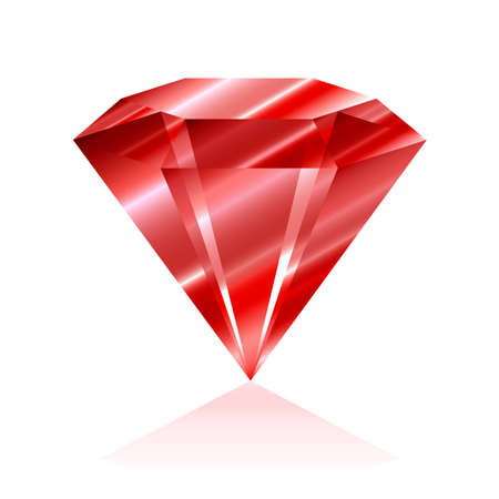 Red Jewelry crystal  isolated on white background