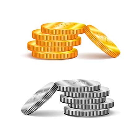 Coins vector illustration, flat money stacked badge flat, gold and silver penny cash stacks