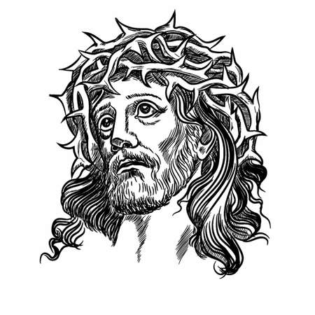 Son of God Jesus Christ tatto, with a crown of thorns on his head. Vector illustration