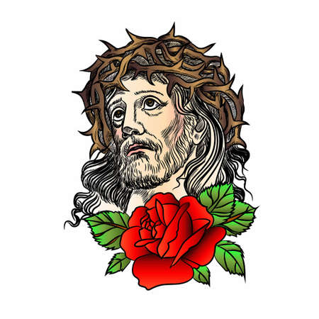 Son of God Jesus Christ. Tatto red rose, with a crown of thorns on his head. Vector illustration