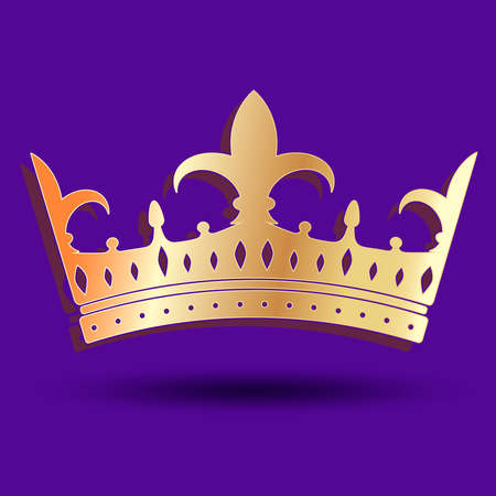Golden imperial crown on a lilac background. Vector drawing