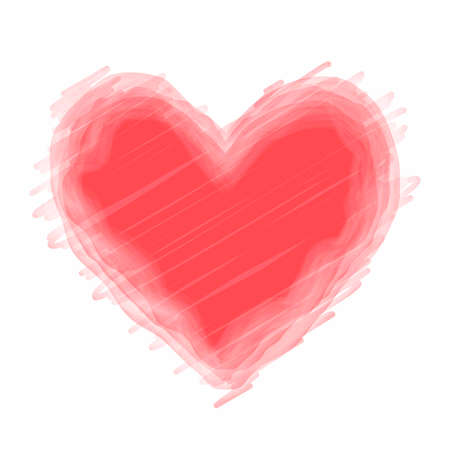 Red watercolor vector heart on a white background.