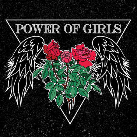 Power of girls slogan, clothes for t-shirt with printed graphic design. Stickers, embroidery, applique in the style of ancient breeds, background rose.