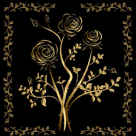 Golden vector roses on a black background. Embroidery with gold threads on t-shirts and coats of arms.