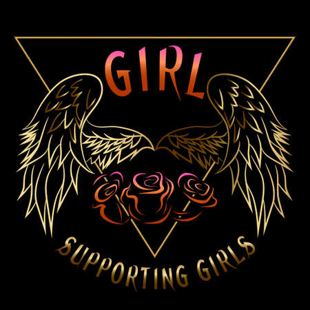 Girl supporting slogan fashion patches, badges exclusive girl gang gold rose with leaves rock girl gangs, clothes for t-shirt with printed graphic design. A vector stickers, embroidery, applique in the style of ancient breeds.