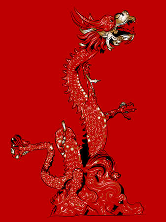 Chinese dragon on a red background vector illustration.