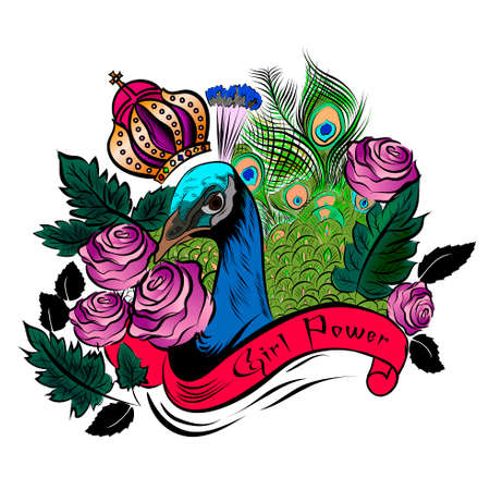 Girl power slogan red roses and peacock with crown, badges exclusive girl gang rose with leaves rock girl gangs, clothes for t-shirt with printed graphic design vector. Set of stickers, embroidery, applique in the style of ancient rocks.