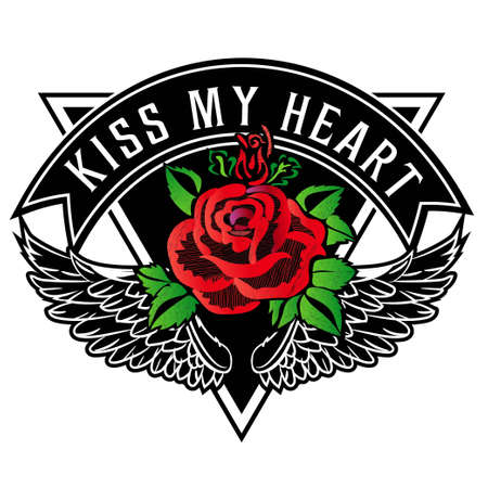 Kiss my heart rose printed graphic design vector. A set of stickers, embroidery, applique in the style of ancient breeds. 向量圖像