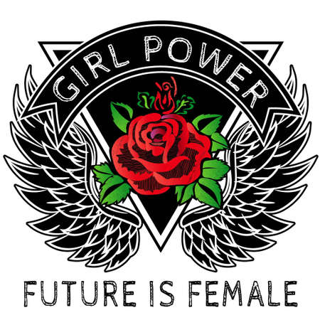 Girl power slogan fashion stripes, badges exclusive girl gang rose with leaves rock girl gangs, clothes for t-shirt with printed graphic design vector. A set of stickers, embroidery, applique in the style of ancient breeds.