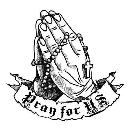 Praying hands with rosary, pray for us. 免版税图像 - 98858283
