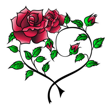 Rose with leaves on the background of the heart tattoo designs.