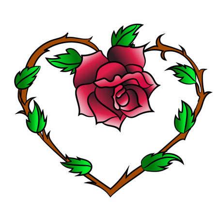 Rose with leaves and thorns on the background of the heart tattoo designs.