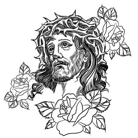 Son of God, Jesus Christ, tattoo rose, with a crown of thorns on his head vector illustration.