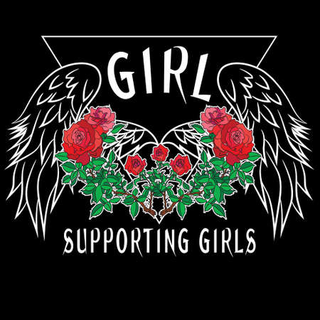 Girl Power Slogan Fashion stripes, badges Exclusive girl Gang Rose with leaves Rock girl gangs, clothes for T-shirt with printed graphic design. Vector A set of stickers, embroidery, applique in the style of ancient breeds. 向量圖像