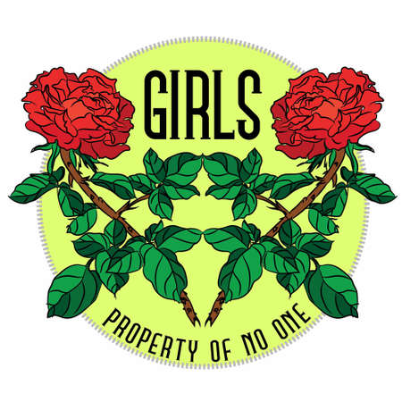 Girls property of no one Slogan, clothes for t-shirt with printed graphic design. Stickers, embroidery, applique in the style of ancient breeds, background rose.
