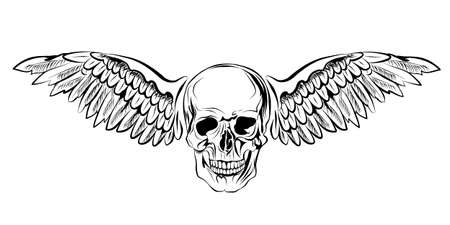 Skull with wings. Logo of the rock band