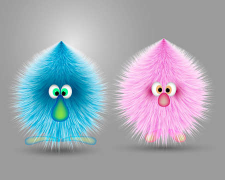 A pair of fluffy animated animals