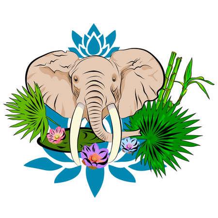 Elephant head, lotus flowers, leaves. Vector.