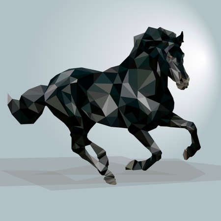 Triangular black horse. This vector illustration can be used as a print on T-shirts. 向量圖像