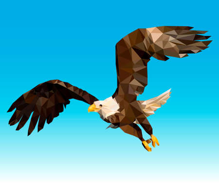 Тriangular Bald Eagle. This vector illustration can be used as a print on T-shirts. 向量圖像