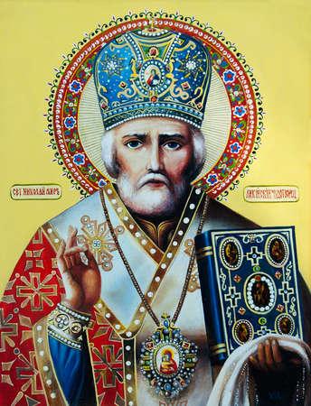 Orthodox icon Saint Nicholas the Wonderworker. Oil painting, canvas.