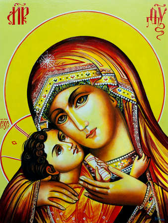 Orthodox Icon of the Virgin Mary with the Child Jesus. Canvas, oil. 版權商用圖片 - 115971515