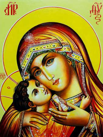 Prawosławna ikona Matki Boskiej z Dzieciątkiem Jezus. Płótno, olej.