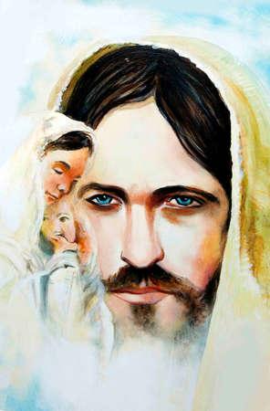 Icon Jesus Christ, son of God and Virgin Mary. Canvas, oil. Redakční
