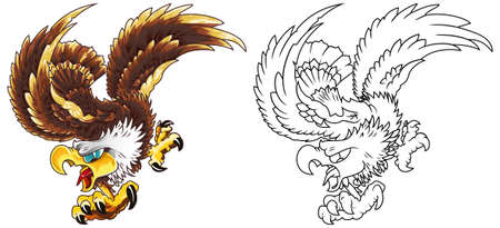 The mascot of a bald bald American eagle soaring with claws and outstretched wings.