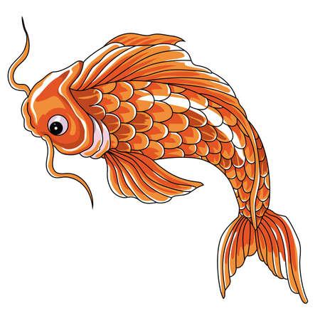 Japanese carp in swimming. Vector format Calligraphic carp symbol. Vettoriali