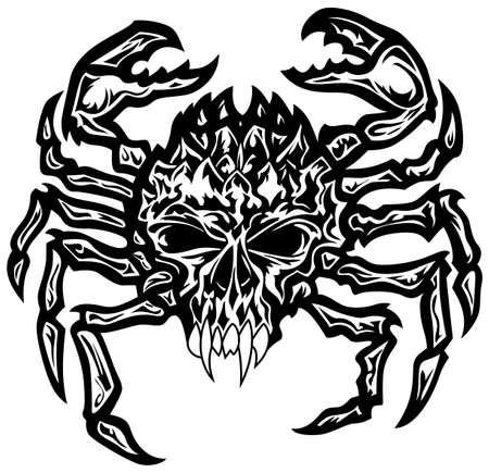 Black and white crab with a skull head and creepy teeth in a tatto style.