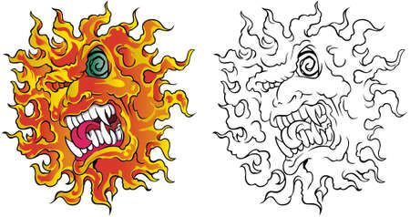 Crazy yellow sun character face with angry expression and green eye and vampire teeth. Vector illustration on white background tatto style.
