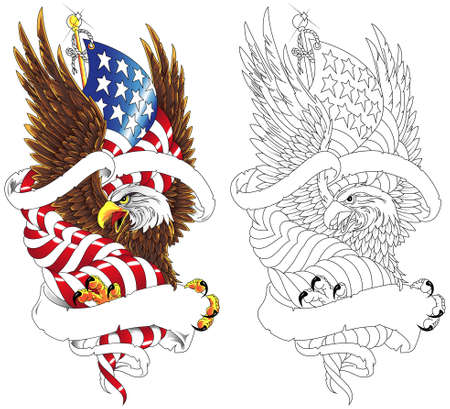Stylized drawing american eagle with usa flag, ribbon for your tagline. Vector illustration in the style of military tattoos.