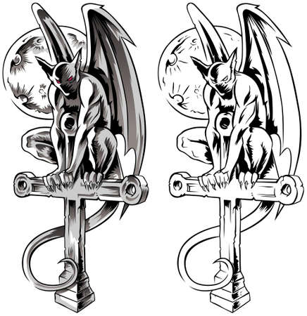 Chimera gargoyle sitting on a cross, hand-drawn vector illustration with gothic guards, demon in tatto style. Vectores