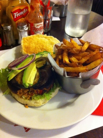 Veggy burger with french fries