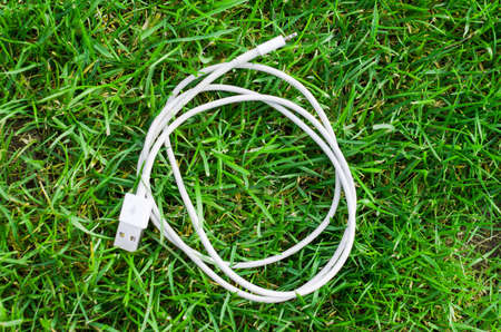 White USB cable on grass detail