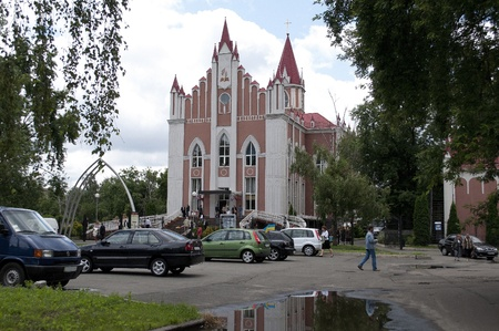 str: Church in the Park, Kiev, Ukraine, str. Mykytenko 20