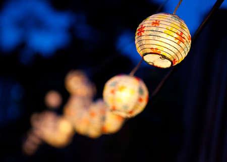 small paper: Small white paper lanterns. Stock Photo