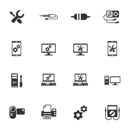 electronics repair icon set