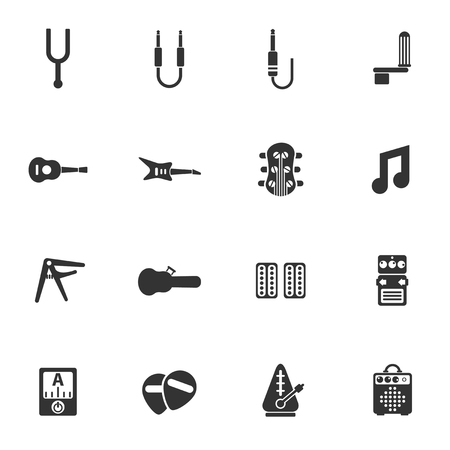 guitar and accessories icon set