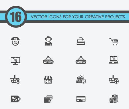 winkelen vector iconen voor uw creatieve ideeën Stock Illustratie