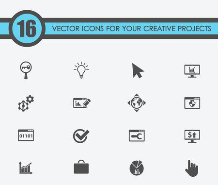 Illustratie van seo vectorpictogrammen voor uw creatieve ideeën Stock Illustratie