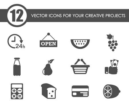 grocery store vector icons
