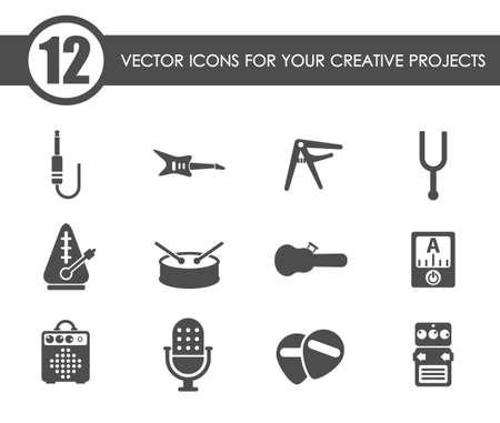 musical shop vector icons Vetores
