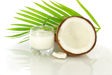 coconut milk and cut coconut photo