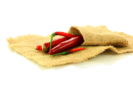 red chili pepper:  red chili pepper on jute cloth
